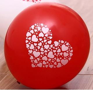 12 inch Balloon 'Heart / Love  Shape' Print Round Balloons