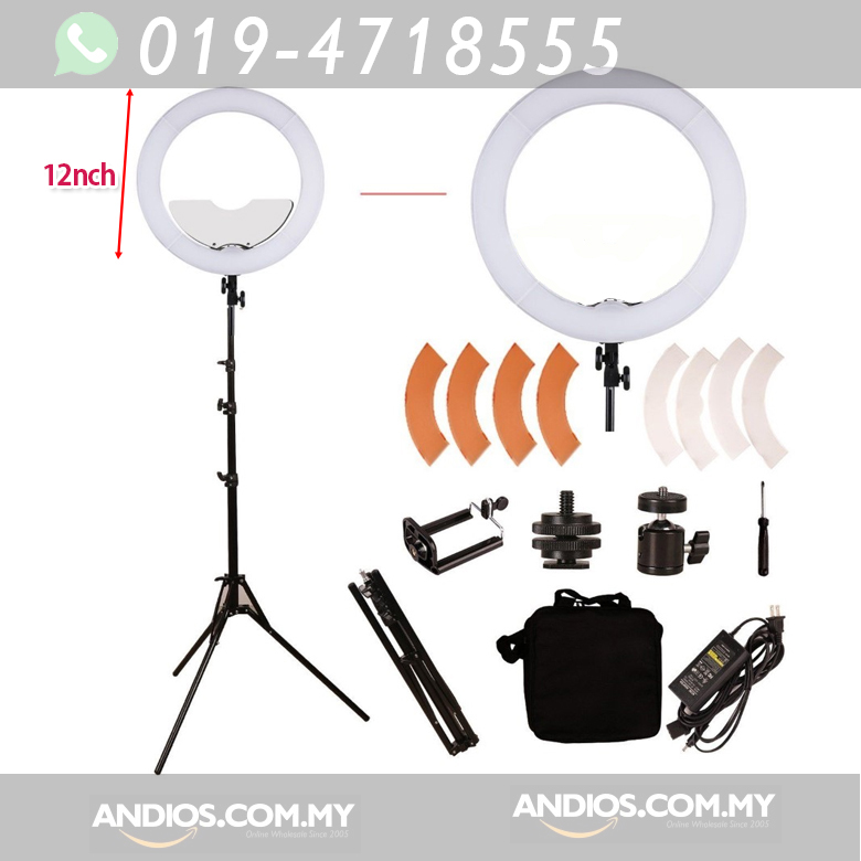 12-inch LED Ring Light_Dimmable_Large_with Stand_Lampu Live Broadcast