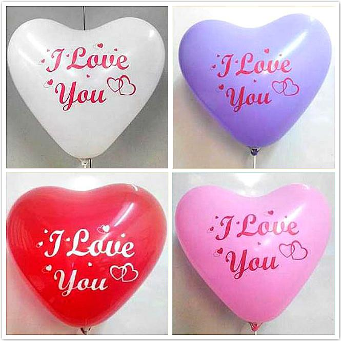 12 inches I LOVE YOU Printed Atex Heart Shaped Latex Balloon 12pcs