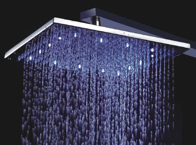 12\' LED Rain Shower Head Square Bras (end 4/30/2016 5:15 PM)