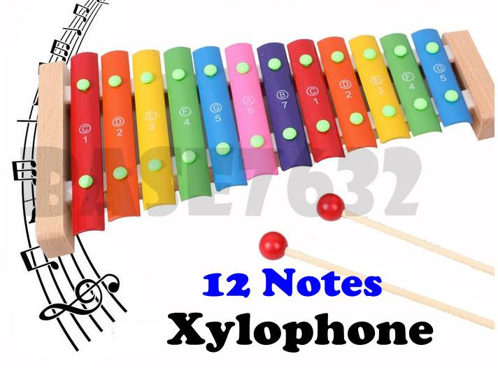 12 Tone Note Wooden Xylophone Kids Toy Music Playing Gift
