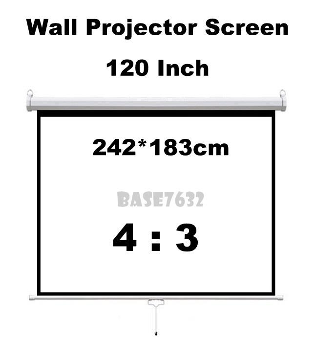 120 inch  2.42*1.83m Wall Hand Pull Down Projector Screen 4:3
