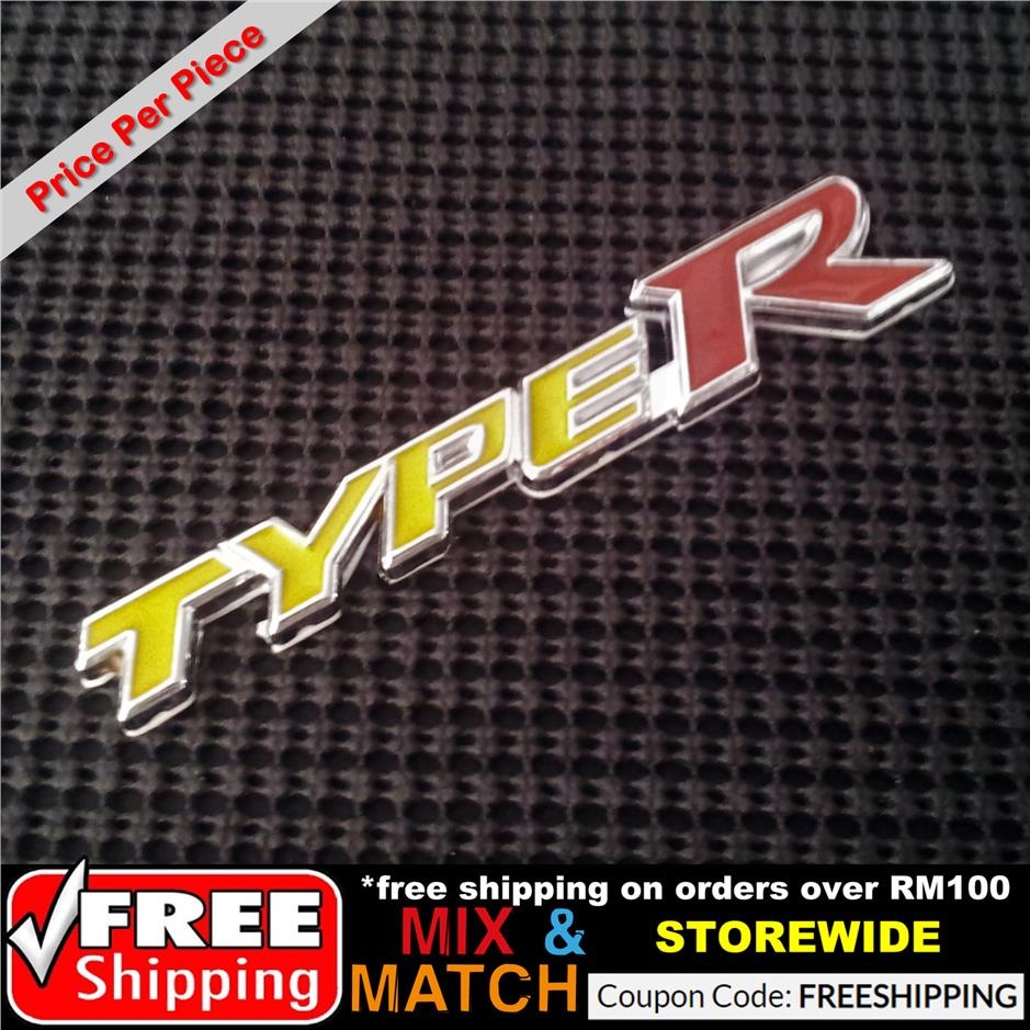 [1226YWRD] 1Pc Type R Yellow Red Metal Chrome Car Badge Sticker Decal