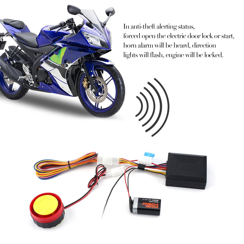 125dB Motorcycle Anti-theft Security Alarm System Double Remote Contro..