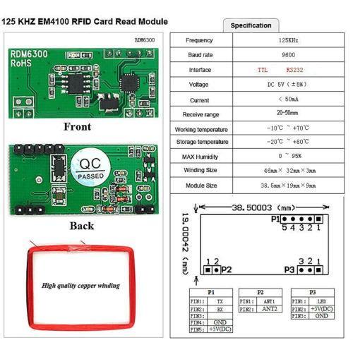 125k EM4100 RFID Card Reader Module RDM6300 ID RF UART Output