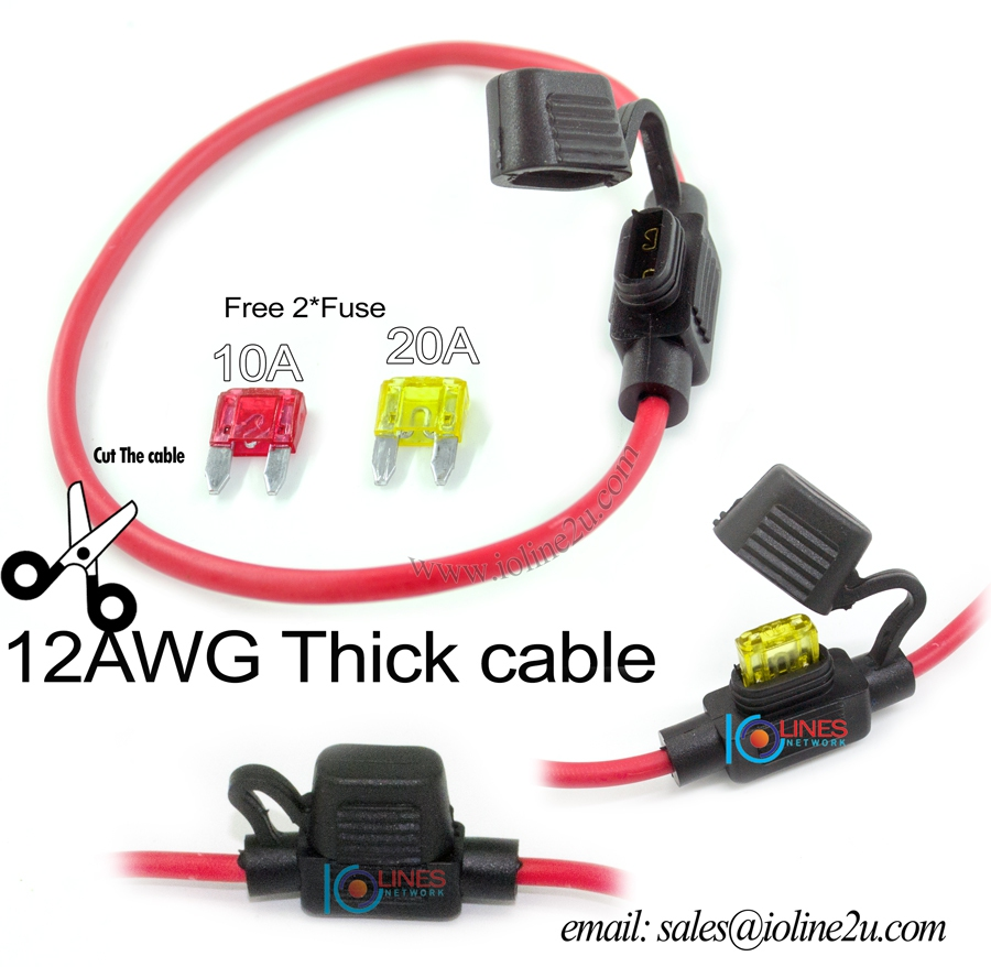 12AWG-Copper cable Fuse Holder Water Proof Car Auto 30cm Free 10A+20A Fuse.  ‹ ›
