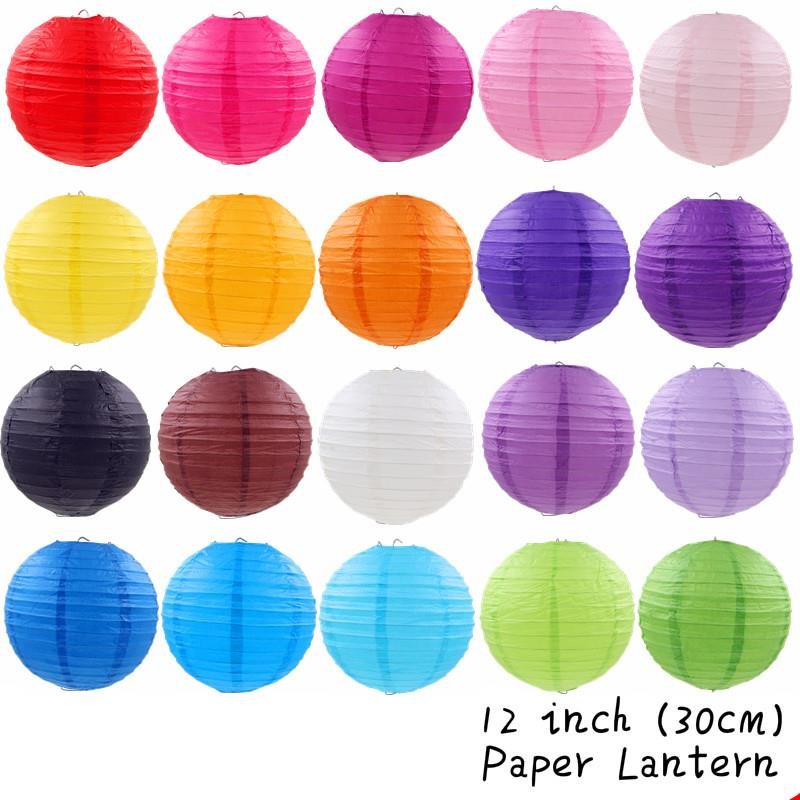12inch/30cm Paper Lantern Round Plain Hanging Decoration 3pieces