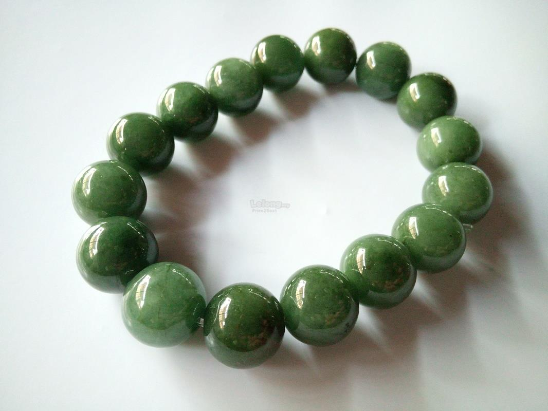 12mm Natural Chinese Jade Like Bracel (end 2/3/2020 2:15 PM