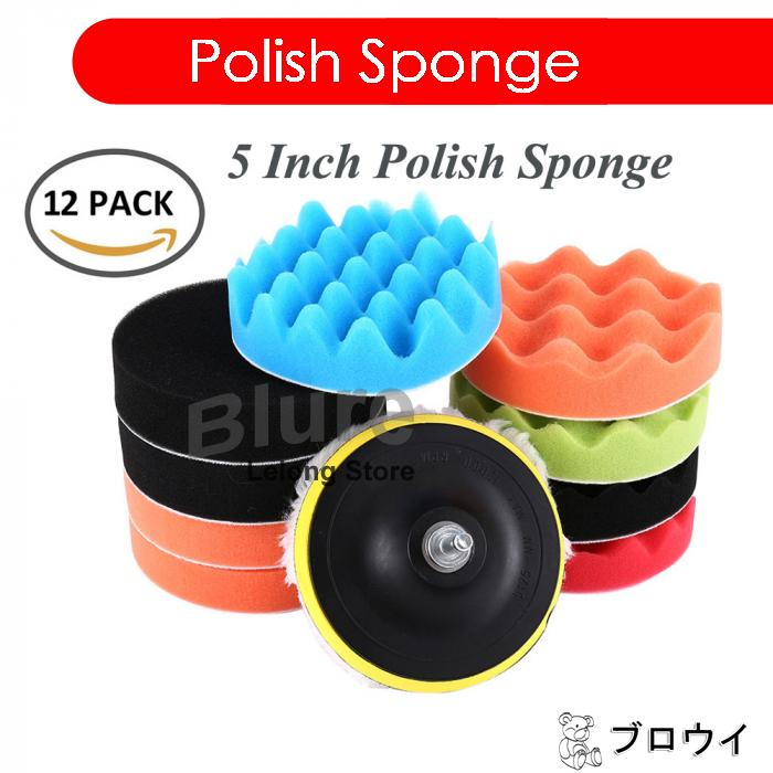 "12pcs 5 "" Inch Car Polishing Polish Waxing Wax Sponge Pad Kit"