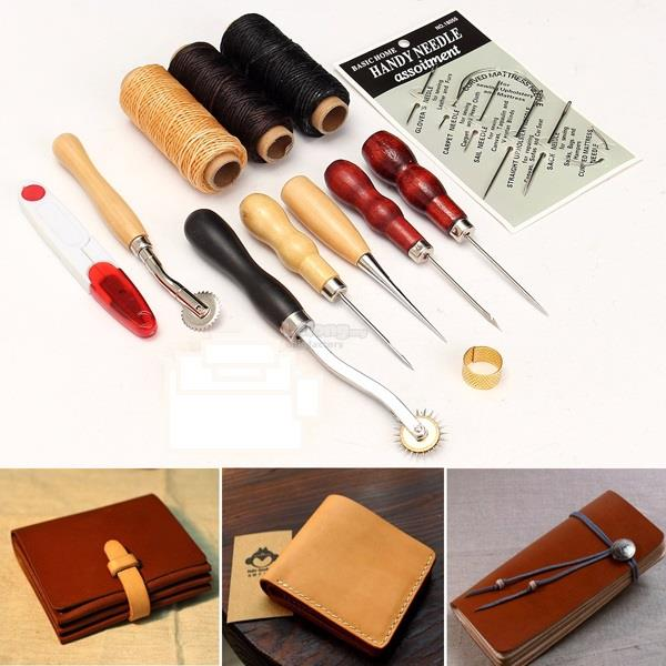12pcs DIY Leather Craft Tool Kit Hand Stitching Sewing Punch Set