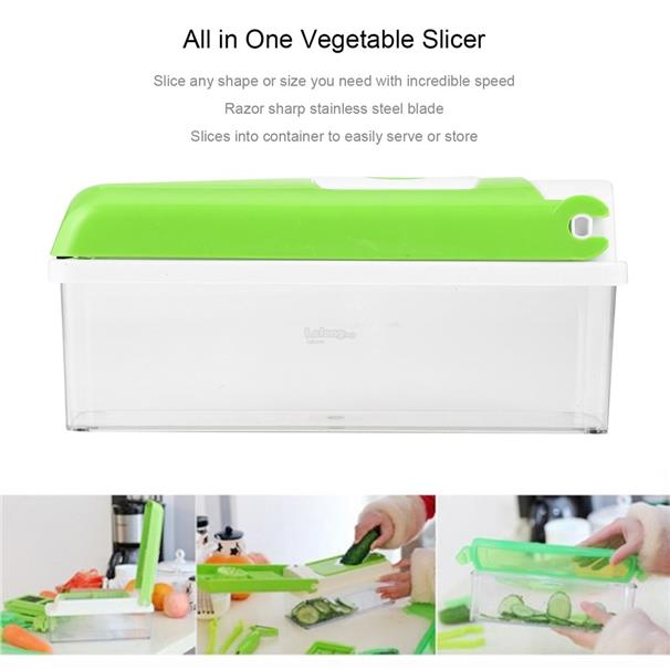 12pcs All in One Vegetable Slicer Food Preparation Station with Contai