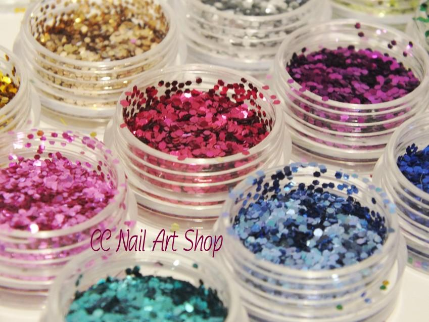 12pcs/set Hexagon shaped glitter set beauty nail art 3g/pc