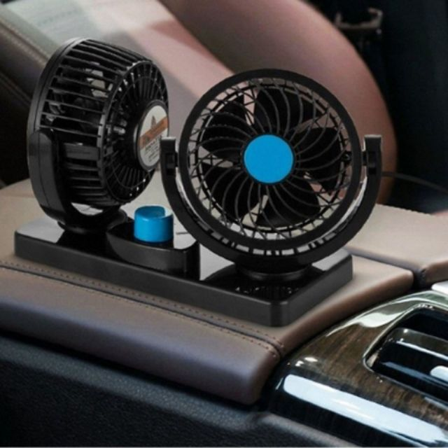 12V 2 Head 360 Degree Rotation Car Vehicle Cooling Air Double Strong Fan Silen