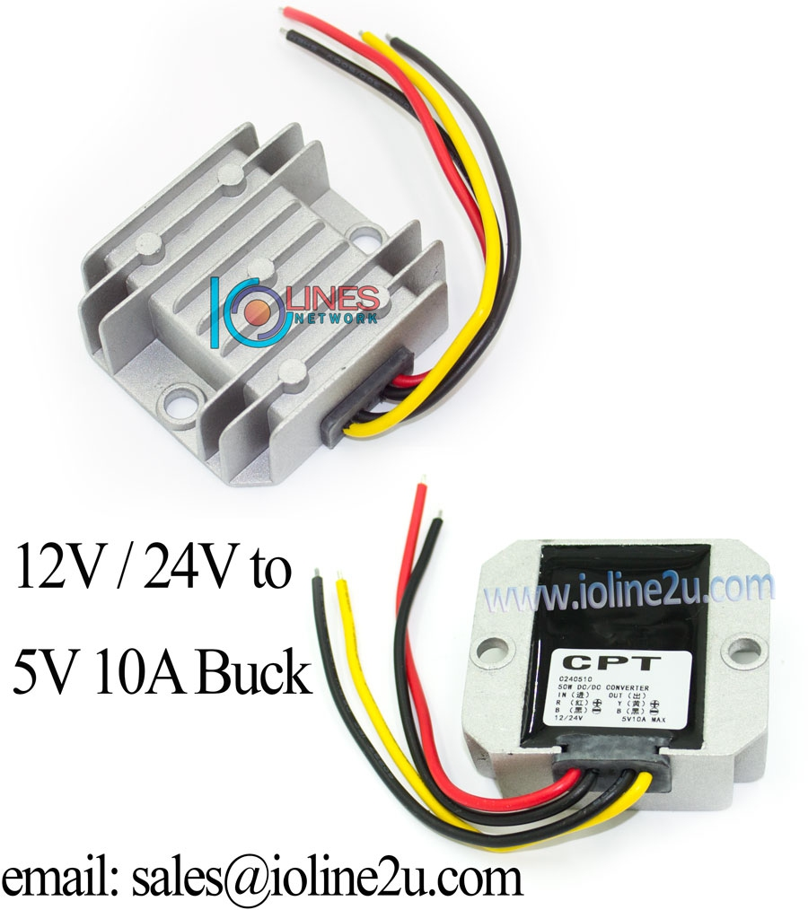 12V/24V 8-35Vdc to 5V 10A power converter stepdown Buck Sealed 4r Solar car LE