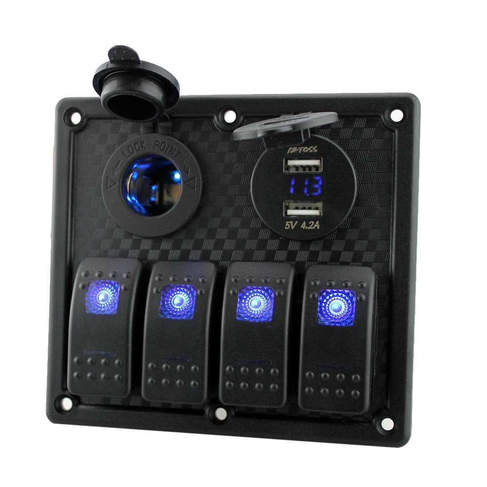 12V-24V Waterproof 4-Gang Toggle Switch Panel Led Rocker Switch Panel with Cig