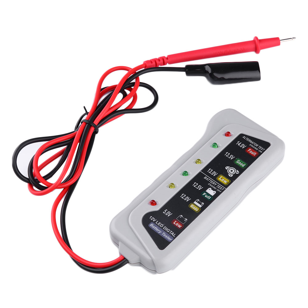 12V Car Battery Tester Digital Diagnostic Tool 6-LED Light Display