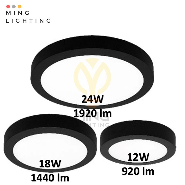12w 18w 24w LED Surface Downlight Round Bl - [BLACK,12W WARM (YELLOW)]