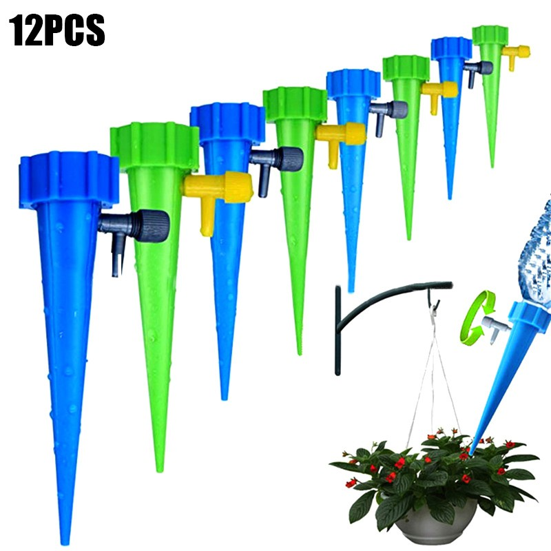 12x Plant Self Watering Spikes Stakes Automatic Valve Waterer Device G