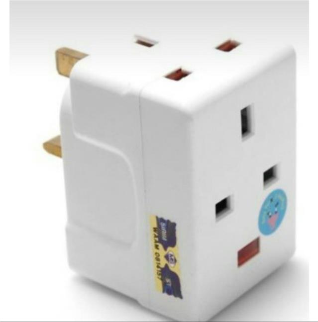 13A 3 Way UK Adaptor With Neon Light