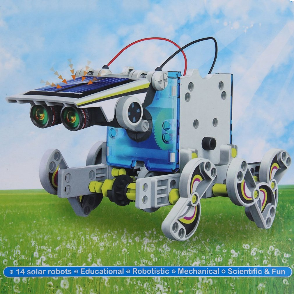 14 in1 Solar Powered DIY Model Robot Boat Ship Educational Toy Kit Kid