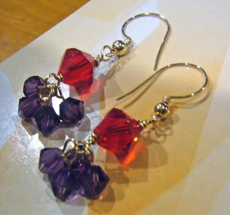 14K Gold Filled Swarovski Crystal Bicone Earrings Color Choices