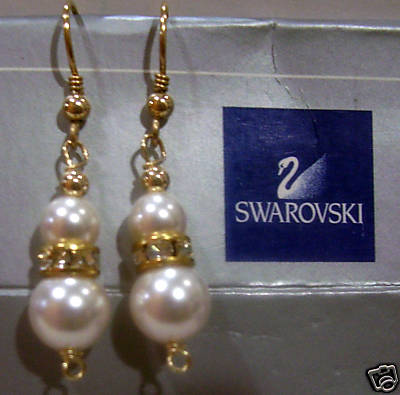 14K Gold Filled Swarovski Pearl Earrings White or Choose Cols