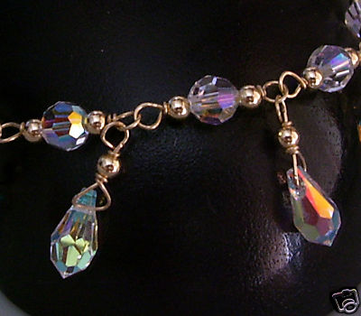 14k Gold Swarovski Crystal Ab Bracelet Suasa Teardrop 6mm 11mm
