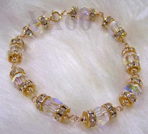 14k Gold Swarovski Crystal Ab Bracelet Wire Wrapped Rondelles Gelang