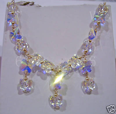 14K Gold Swarovski Necklace Suasa Butterfly Choose Cols