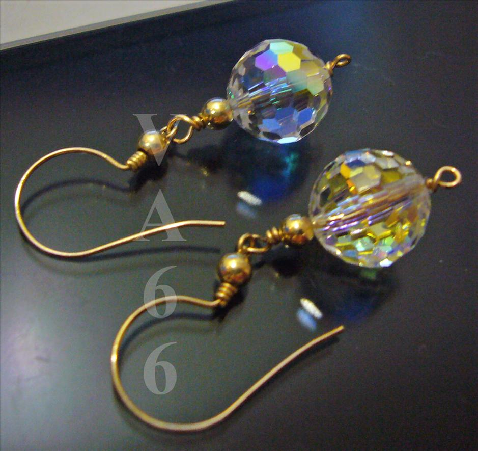 fb988e28d891e 14KGF Wire Wrap Swarovski Disco Ball Crystal Earrings