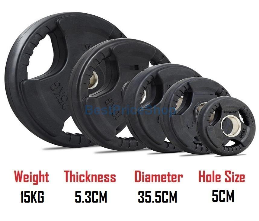 15KG 5CM Hole Tri Grip Rubber Coated Iron Weight Plate Handhold Gym