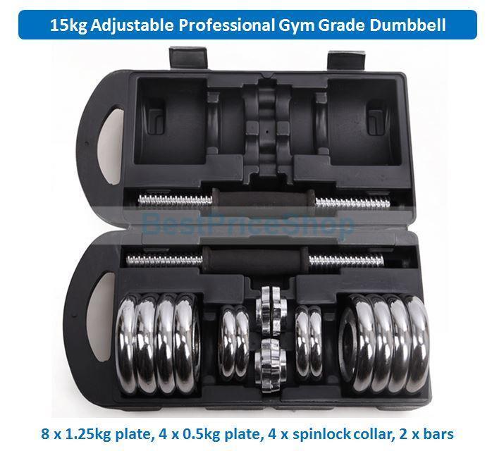 Adjustable Dumbbells Malaysia: 15kg Adjustable Professional Gym Gra (end 1/22/2020 2:24 PM