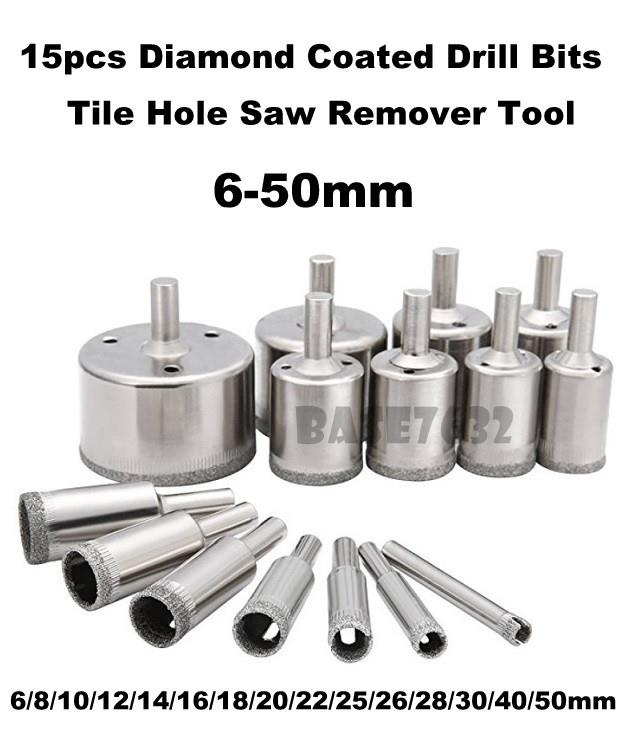 15pcs  Diamond Coated Tile Hole Opener Remover Tool Drill Bit 6-50mm