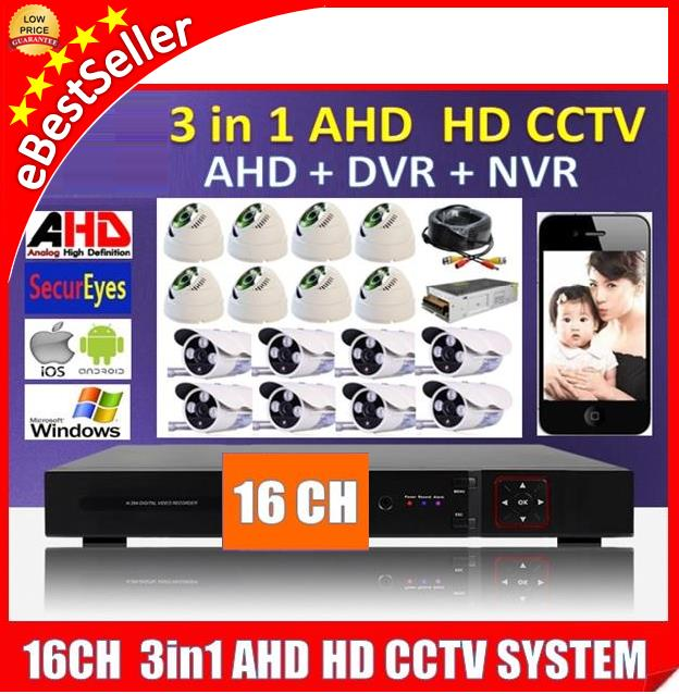 16 Channel 3in1 AHD + DVR + NVR 720P CCTV P2P HDMI HD Recorder 960H