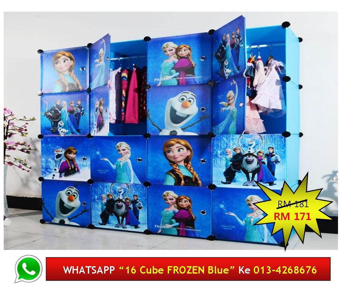 16 Cube Diy Wardrobe Almari Kartun Frozen Blue Murah Comel