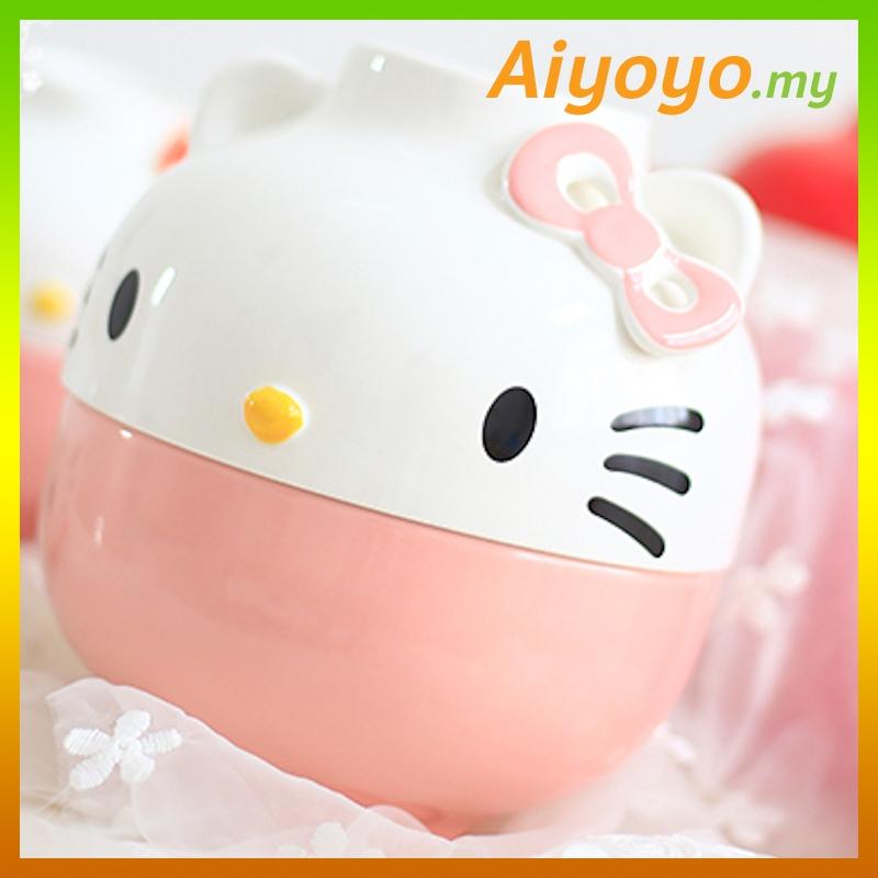 16cm Pink Hello Kitty Bowl Set Kt Cute Cartoon Rice Noodles Soup Plate