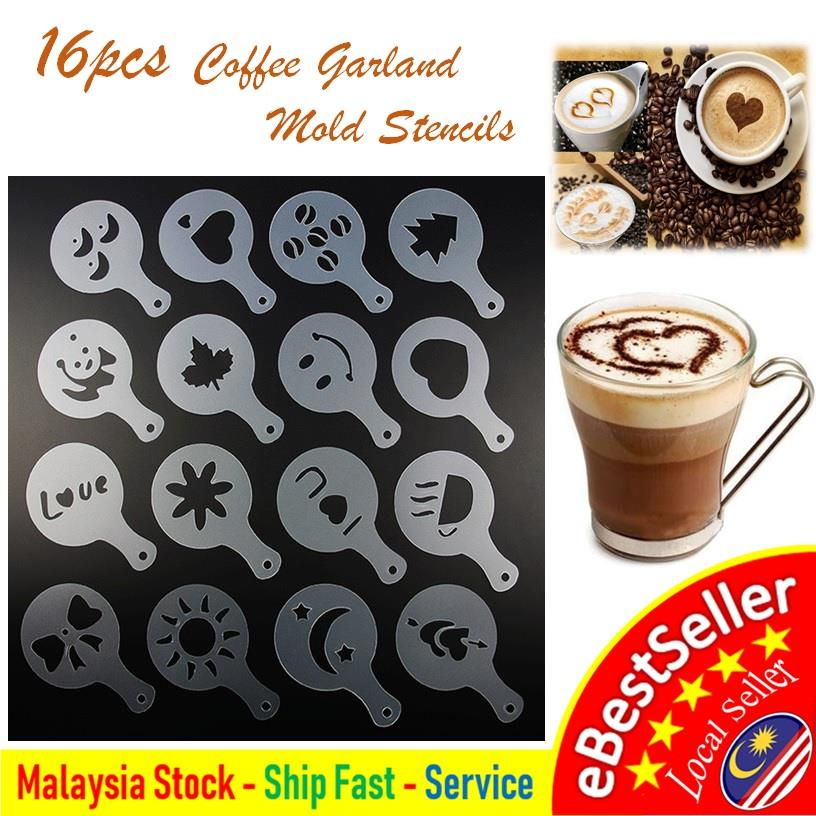 16pcs Creative Plastic Fancy Garland Coffee Printing Mold Stencils