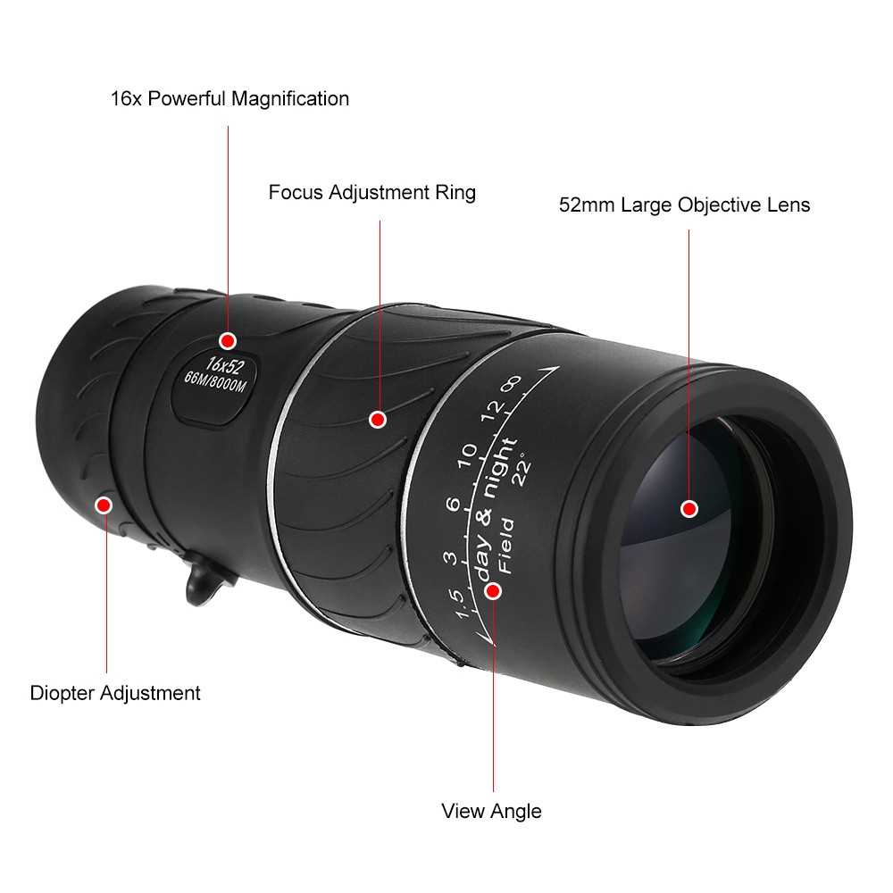 16x52 High Powered Dual Focus Monocular Telescope Outdoor Portable