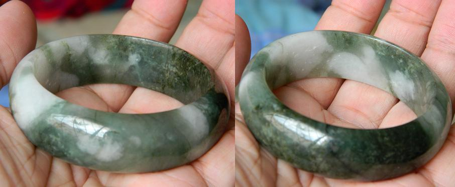 17.5mm big green Jadeite jade bangle -70g- JD160