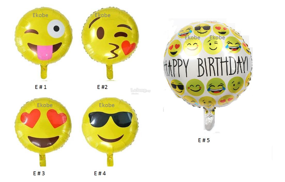 18 inch Emoji Foil Balloon Happy Birthday Foil Balloons