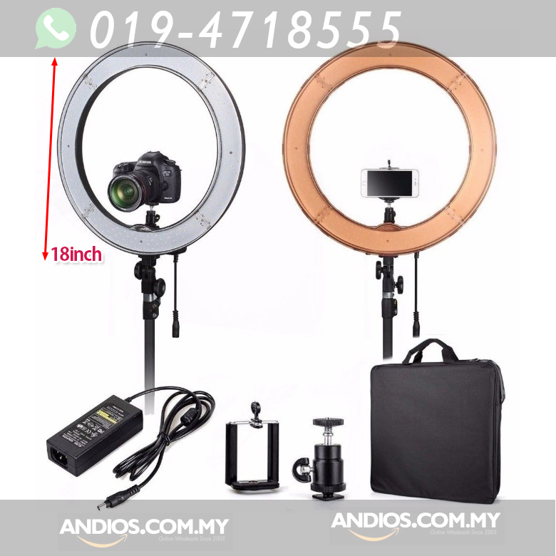 18-inch LED Ring Light_Dimmable_Large_with Stand_Lampu Live Broadcast