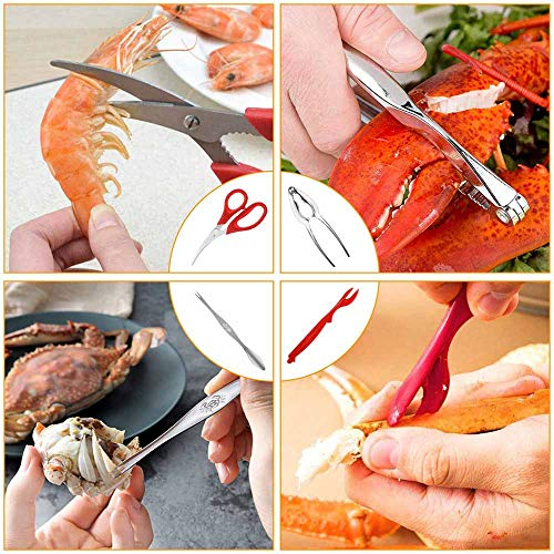 18 Pcs Seafood Tools Set including 8 Forks 4 Lobster Crackers Nut Cracker and