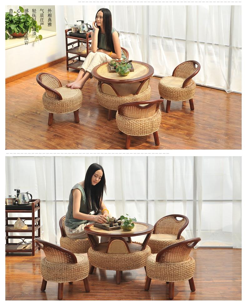 18541769141 creative coffee table solid wood and wicker 3 pc set