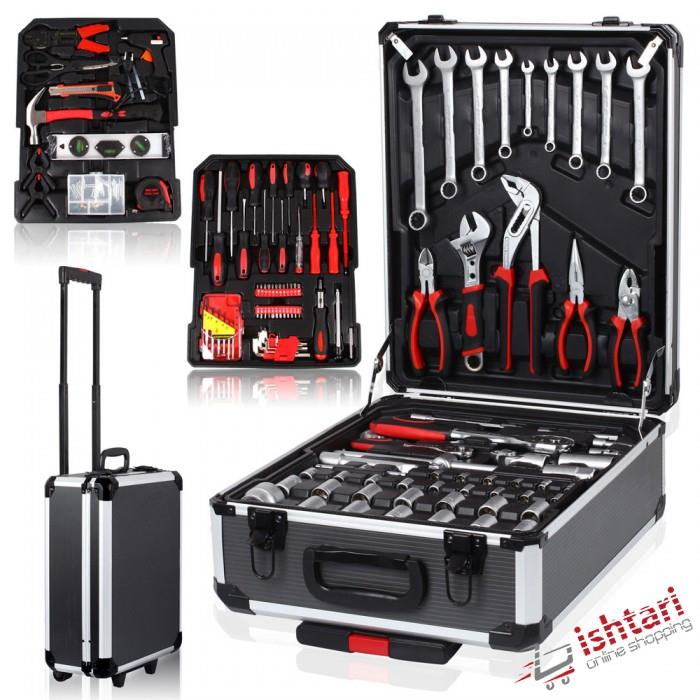 186PCS/Box Hand Tool Set Case Mechanics Kit Box Toolbox Trolley Access