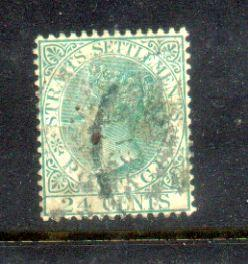 1883 Malaya Straits Settlements QV Watermarks Crown CA. 24c