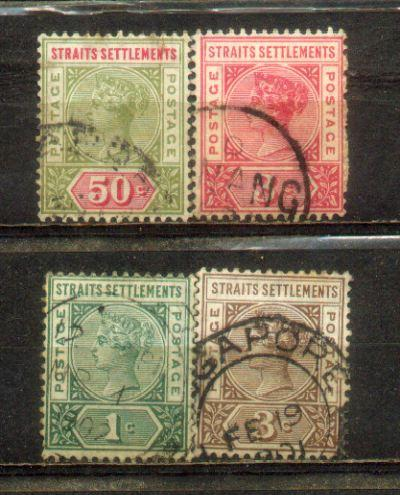 1892 Malaya Straits Settlements QV Watermarks Crown CA. 4 Stamps to 50..