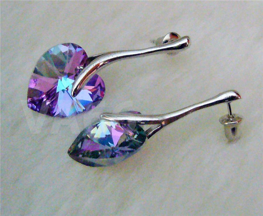 18k Swarovski Crystal Earrings Heart Studs Vl Drop Anting Kristal Jewe