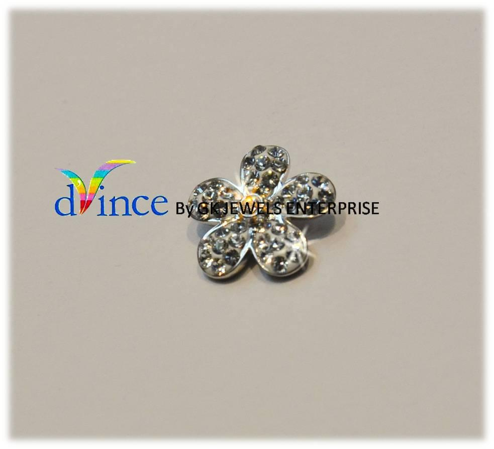 18K White Gold On 925 Silver Swarovski Element (Small flower) *42*