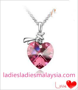 18K White Gold Plated Austrian Crystal Rhinestone Heart Necklace