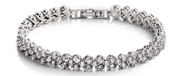 18k White Gold Plated Rome Zircon Tennis Bracelet
